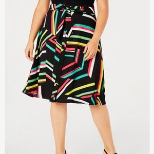 Bar lll Abstract Retro Neon Striped A Line Skirt